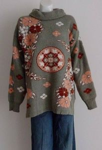 Vintage soft thick chunky oatmeal knit sweater